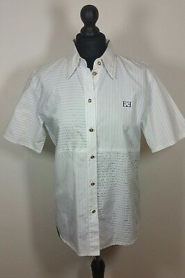 Escada Margaretha Ley White Short Sleeve Shirt Classic Retro Chic Cotton Size 38