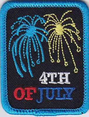 """/""""4TH OF JULY/"""" PATCH PATRIOTIC-MILITARY-USA-HOLIDAY-CELEBRATION-Iron On  Patch"""