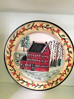 Large Decorative Ceramic Plate Hand Painted Country Primitive Style