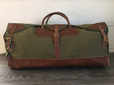 3ad7d6d22 Gokey Canvas Duffle Bag Vintage Rare Orvis Battenkill Leather Hunting Emblem