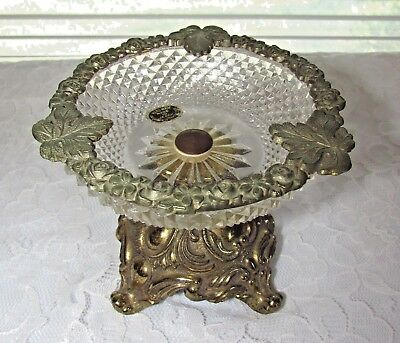 Antique American Cut Crystal Glass Handmade Footed Compote Original Foil Label