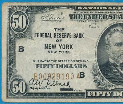 $50. 1929 New York  Brown Seal Federal Reserve Bank Note