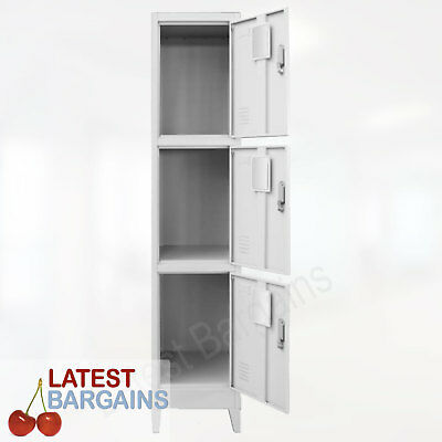 3 Door Locker Steel Metal Cabinet Storage School Gym Change Room Office Work