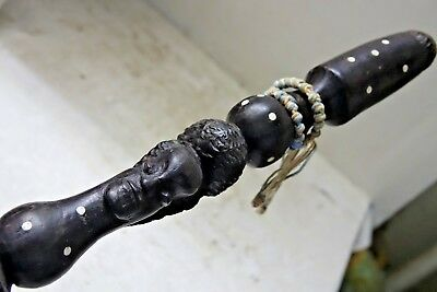 Very Interesting Old Tribal Chunky Carved Walking Stick - Very Rare - L@@k