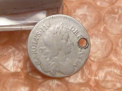 Charles II 1681 Silver Colonial Maundy Fourpence Coin #2