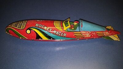 Marx Rocket Racer Tin Toy Wind-up Space Age Car Vintage Antique litho