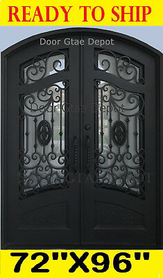 Iron Front Entry Doors Operable Double Tempered Glass DGD1080ABP 72''x96''