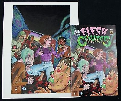Original Comic Art Flesh Crawlers #3 Cover - by Mike Dubisch