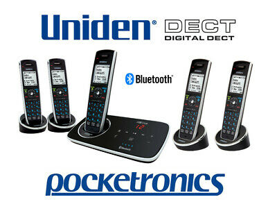 Uniden Elite 9135+4 QUIN Stylish answer machine cordless phone 5 handsets NEW