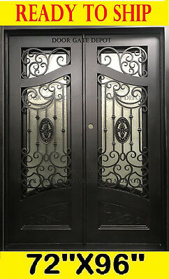 Wrought Iron Front Entry Door With Tempered Glass 72''x96'' Dgd1080Bp