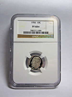 US 1956 10¢ Silver Proof ROOSEVELT Dime NGC PF 68 * STAR Exceptional Eye Appeal!