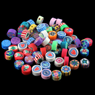 100x Colorful Flower Printed Polymer Clay Loose Beads Fit DIY Bracelet Necklace