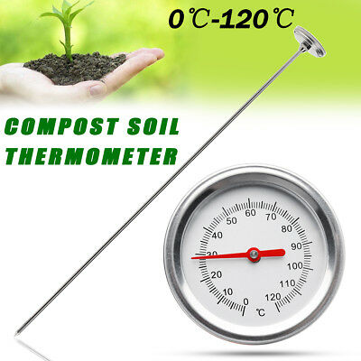 0℃-120℃ Compost Soil Thermometer Premium w/ 50cm Stainless Steel Bimetal Probe