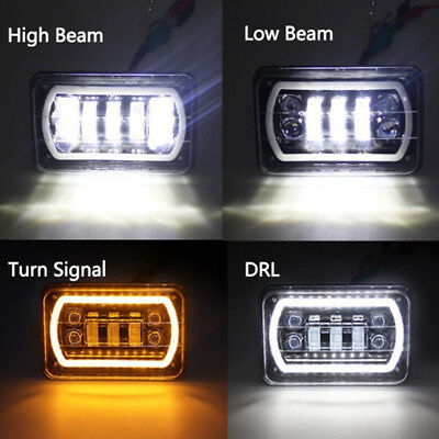 """DC10-30V 4""""X6"""" Square LED DRL Headlight High/Low Beam for Ford Truck Offroad BD"""