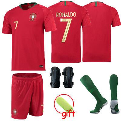 18 RONALDO 7 Football Kids Jersey Soccer Red Home Kits Boys Girls 5-14 Years