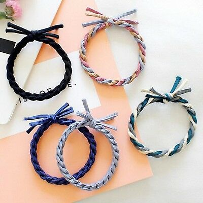 10pcs Mixed Color Braided Hair Ties Rope Elastic Rubber Bands Ponytail Holder