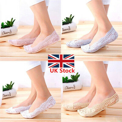 5 Pairs Non-slip Footsies Invisible Skin Shoe Liners Thin Lace Socks for Ladies