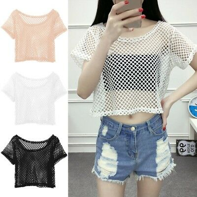 Women's Mesh Fishnet Short Sleeve See Through Crop Tops T-Shirt Casual Blouse US