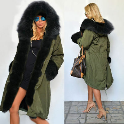 New Lining Coat Womens Winter Warm Thick Long Jacket Outdoor Hooded Parka Hot