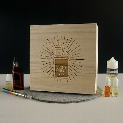 Personalised vape box. Custom made wooden vaping box with MOD design L309
