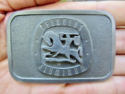 Vtg REYNOLDS ALUMINUM Belt Buckle SIGN San Francisco Employee Award RARE VG++
