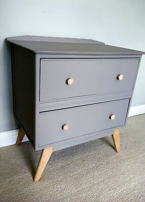 Chest of Drawers Mid Century Wooden Painted Grey Beech Handles and Legs Pair