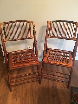 8 Antique Bamboo Folding Chairs
