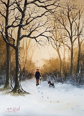 Mal.burton Original Art Oil Painting    The Woodland Walk Man Dog Snow