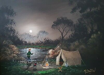 Mal.burton Original Art Oil Painting     Night Fishing Camping   Man Dog