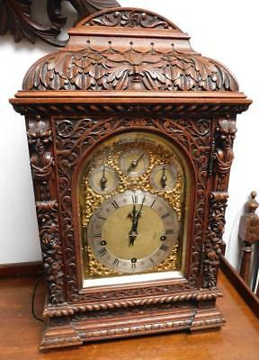 carved green man 8 bells and coil gongs bracket clock by winterhalder& hoffmeir