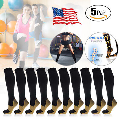 (5 Pairs) Copper Compression Socks 20-30mmHg Graduated Support Mens Womens S-XXL
