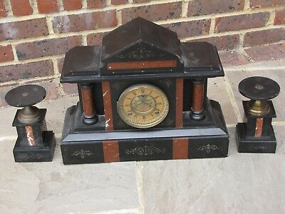 "Ansonia Marble ""EL NIDO"" Clock and side pieces"