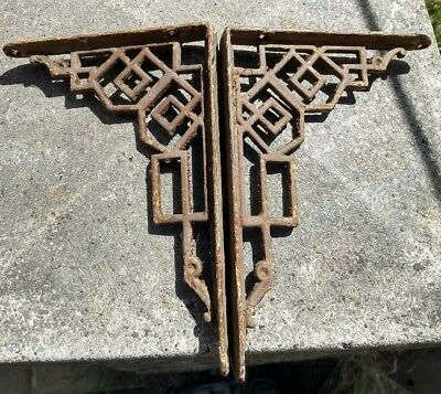 Genuine Victorian Cast Iron Cistern Shelf Brackets Aesthetic Movement