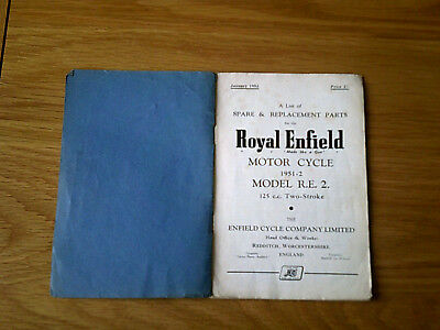 Royal Enfield Spare Parts List 1952