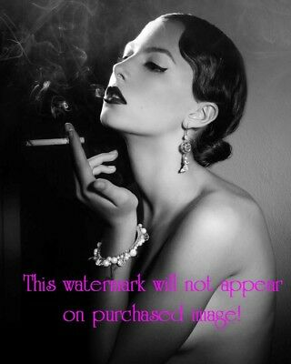 Old VINTAGE Antique BEAUTIFUL FLAPPER Model SMOKING CIGARETTE Photo Reprint