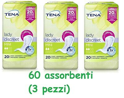 60 Tena lady discret mini 3 pack de de 20 absorbant incontinence urinaire