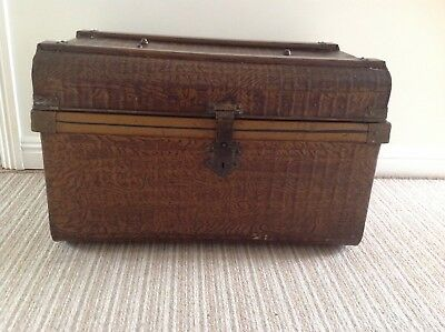 Vintage Domed Top Small Metal Steamer Trunk / Tin Chest / Blanket Box / Storage