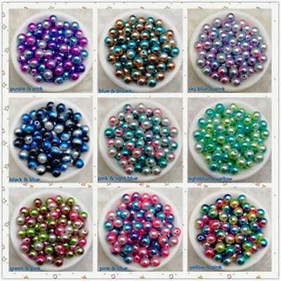 Hot 4 / 6 / 8 / 10mm Colorful Acrylic Round Pearl Spacer Loose Beads Jewelry YG
