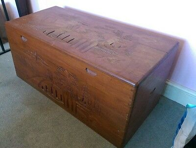 chinese carved camphor wood chest trunk ottoman toy box