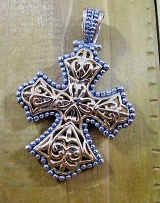 Cross Necklace Pendant Vintage Sterling Silver Gold Plated Signed MX | 14.8 g