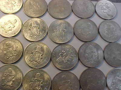 1964 Bermuda 1 One Crown Silver Coins 20 COIN FULL ROLL MS UNC BU SILVER ROLL