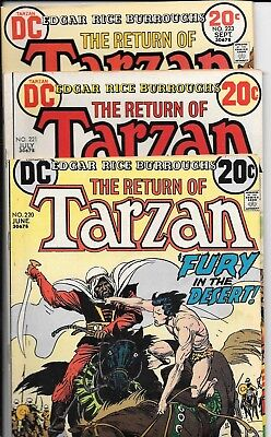 """No Reserve Sell Of Dc Comics  """"tarzan""""series Of 3 No's 220,221,& 223 From 1973"""