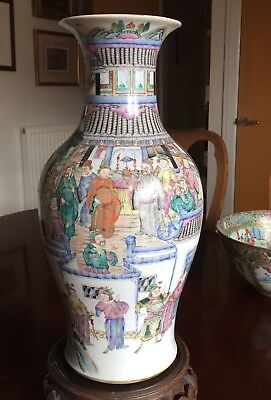 Chinese 19th Century Baluster Vase Extensively Decorated With Mandarin Scenes