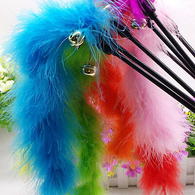 Cat Kitten Pet Teaser Turkey Feather Interactive Stick Toy Wire Chaser Wand ATCA