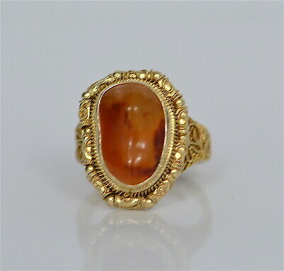 Ring Silber, Karneol-Cabochon,florale filigranarbeit China, old china