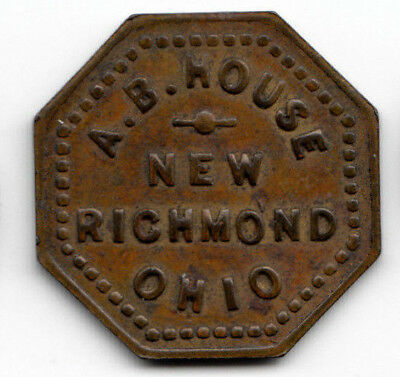 New Richmond Ohio token - A.B.House - 5c in trade - Clermont County OH