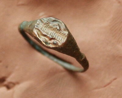 Ancient Roman Bronze Intaglio Seal Ring Size D=19mm 3,7g Rare Quality