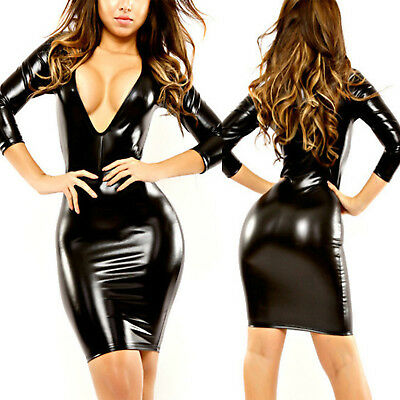 Damen Kunstleder Wetlook Bodycon Mini Kleid Sexy V Langarm Partykleid Clubwear
