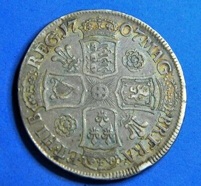 Queen Anne 1707 Roses And Plumes Silver Halfcrown, High Grade