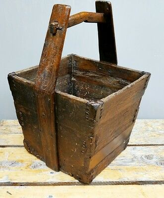 Antique Chinese Oak Wooden Rice Well Grain Bucket Wooden Traditional Design